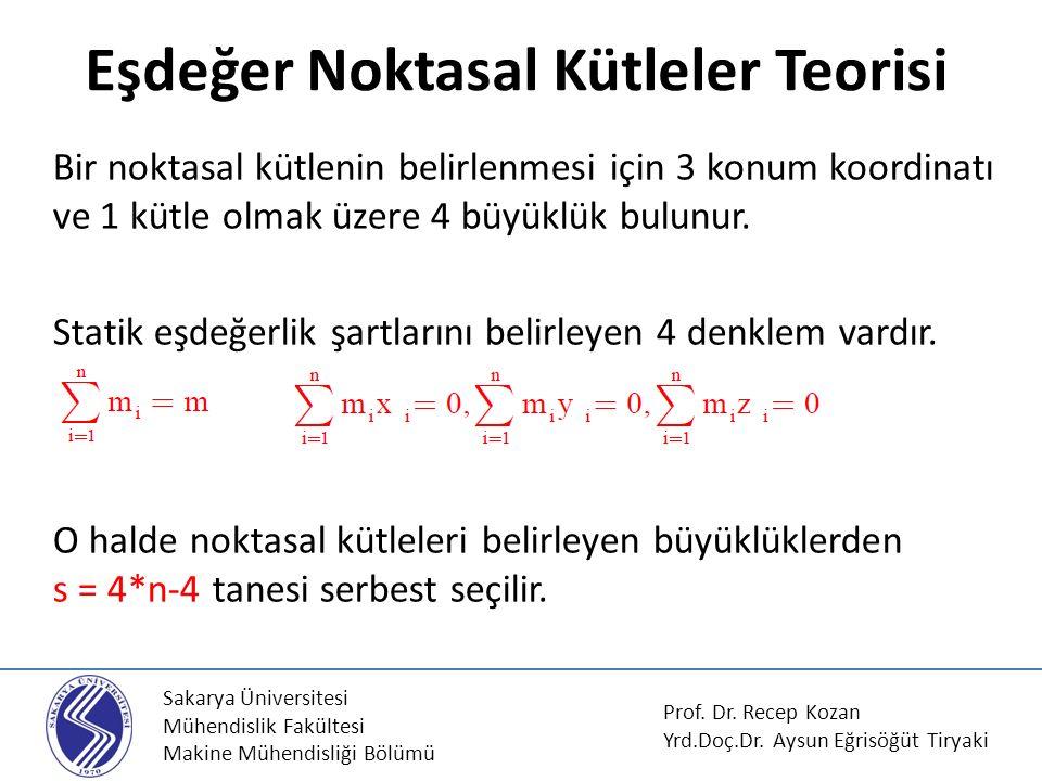 Sakarya Üniversitesi Mühendislik Fakültesi Makine Mühendisliği Bölümü Dinamik Eşdeğer Noktasal Kütlelerin Tayini Prof.