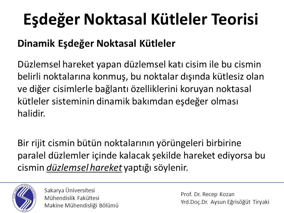 Sakarya Üniversitesi Mühendislik Fakültesi Makine Mühendisliği Bölümü Eşdeğer Noktasal Kütleler Teorisi Prof. Dr. Recep Kozan Yrd.Doç.Dr. Aysun Eğrisö