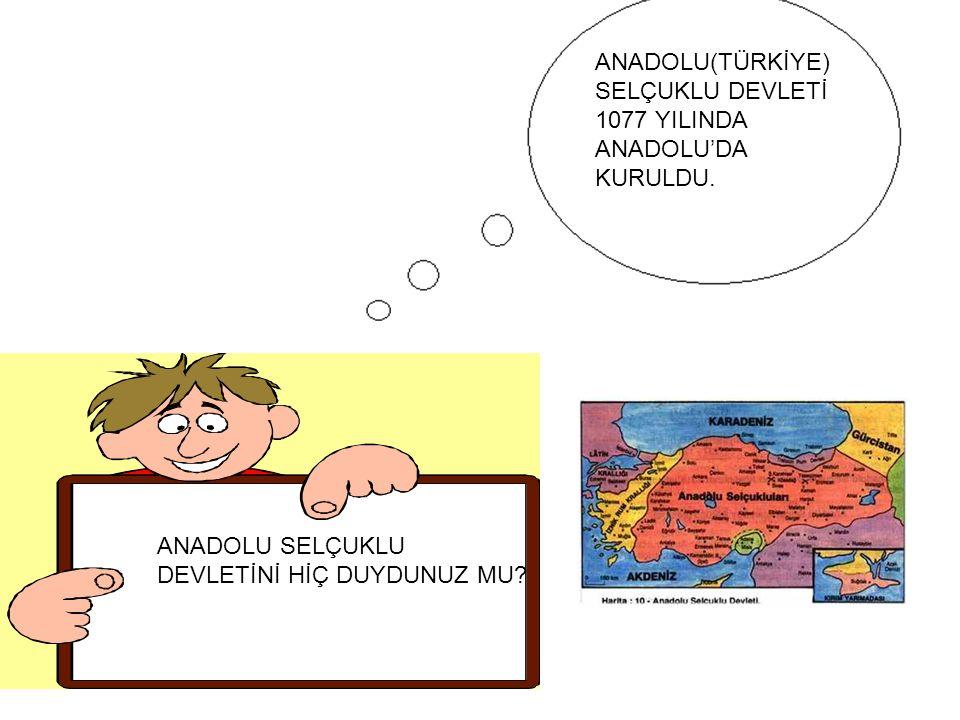 ANADOLU SELÇUKLU DEVLETİNİ HİÇ DUYDUNUZ MU? ANADOLU(TÜRKİYE) SELÇUKLU DEVLETİ 1077 YILINDA ANADOLU'DA KURULDU.