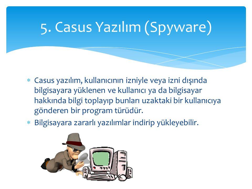  Casus yazılım, kullanıcının izniyle veya izni dışında bilgisayara yüklenen ve kullanıcı ya da bilgisayar hakkında bilgi toplayıp bunları uzaktaki bir kullanıcıya gönderen bir program türüdür.