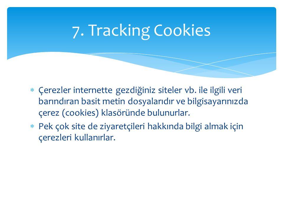  Çerezler internette gezdiğiniz siteler vb. ile ilgili veri barındıran basit metin dosyalarıdır ve bilgisayarınızda çerez (cookies) klasöründe bulunu
