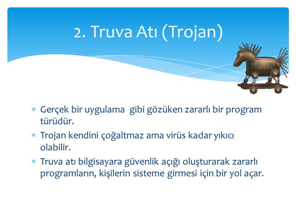  Gerçek bir uygulama gibi gözüken zararlı bir program türüdür.  Trojan kendini çoğaltmaz ama virüs kadar yıkıcı olabilir.  Truva atı bilgisayara gü