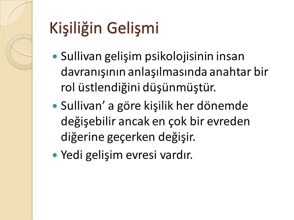 Kişiliğin Gelişmi Sullivan gelişim psikolojisinin insan davranışının anlaşılmasında anahtar bir rol üstlendiğini düşünmüştür. Sullivan' a göre kişilik