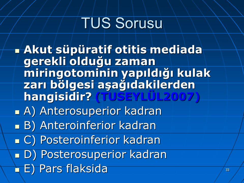 33 TUS Sorusu Akut süpüratif otitis mediada gerekli olduğu zaman miringotominin yapıldığı kulak zarı bölgesi aşağıdakilerden hangisidir? (TUSEYLÜL2007