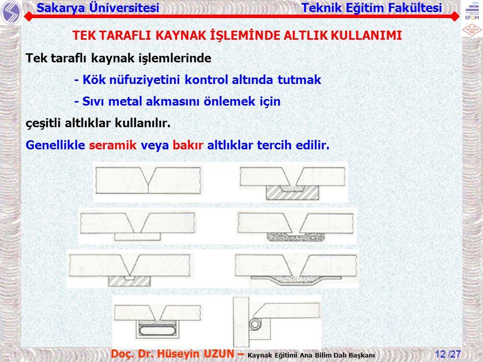 Sakarya Üniversitesi Teknik Eğitim Fakültesi /27 Doç. Dr. Hüseyin UZUN – Kaynak Eğitimi Ana Bilim Dalı Başkanı 12 TEK TARAFLI KAYNAK İŞLEMİNDE ALTLIK