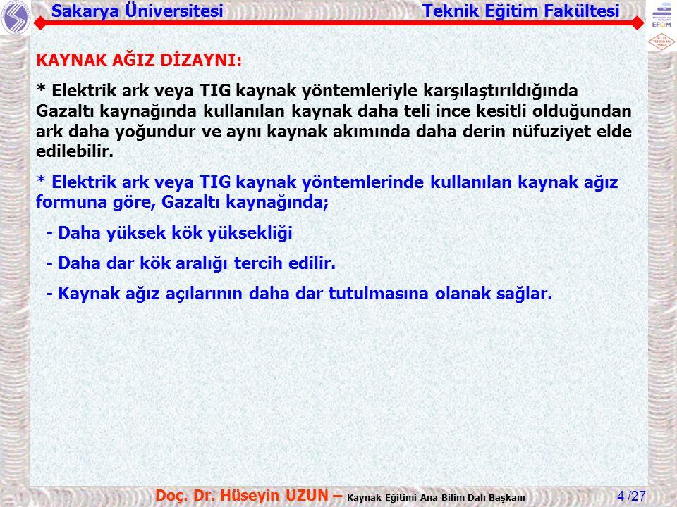 Sakarya Üniversitesi Teknik Eğitim Fakültesi /27 Doç. Dr. Hüseyin UZUN – Kaynak Eğitimi Ana Bilim Dalı Başkanı 4 KAYNAK AĞIZ DİZAYNI: * Elektrik ark v