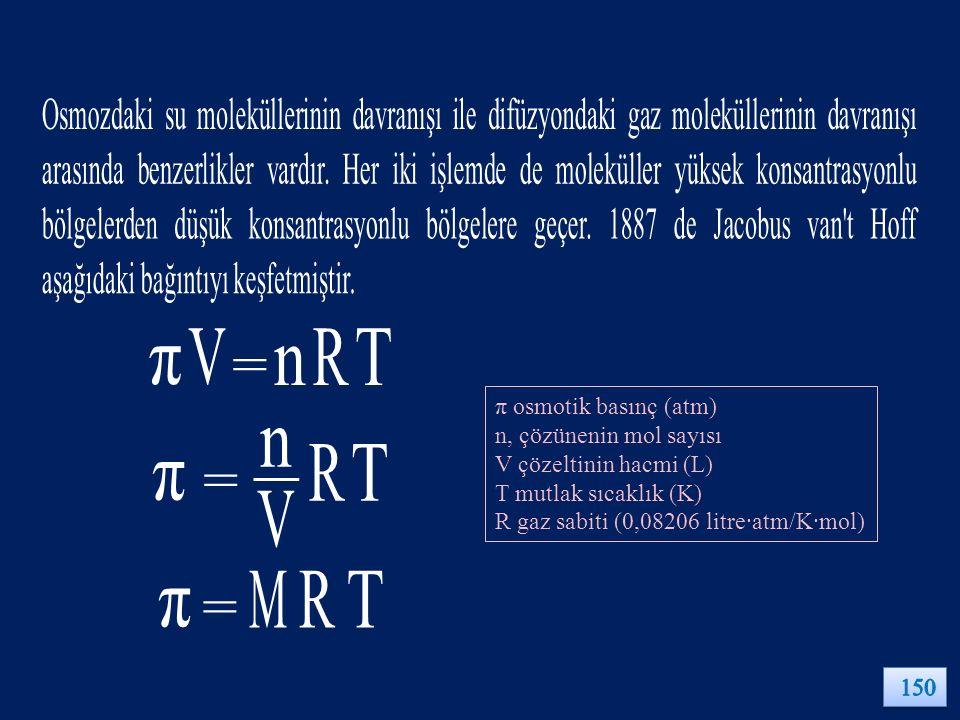 π osmotik basınç (atm) n, çözünenin mol sayısı V çözeltinin hacmi (L) T mutlak sıcaklık (K) R gaz sabiti (0,08206 litre∙atm/K∙mol)