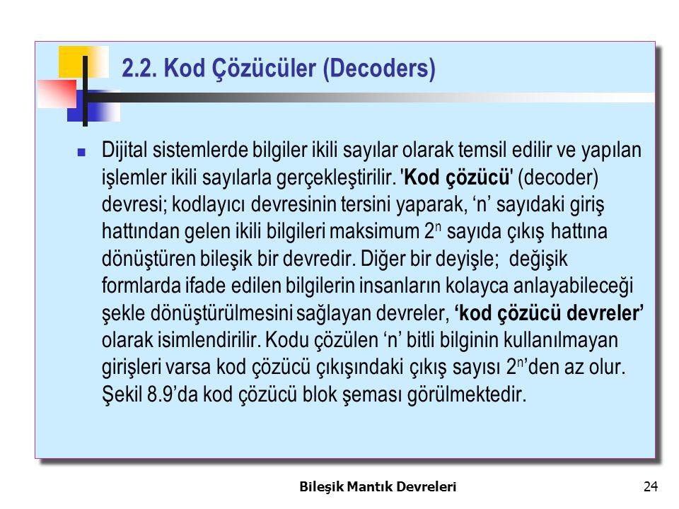 2.2. Kod Çözücüler (Decoders) Bileşik Mantık Devreleri 24 Dijital sistemlerde bilgiler ikili sayılar olarak temsil edilir ve yapılan işlemler ikili sa