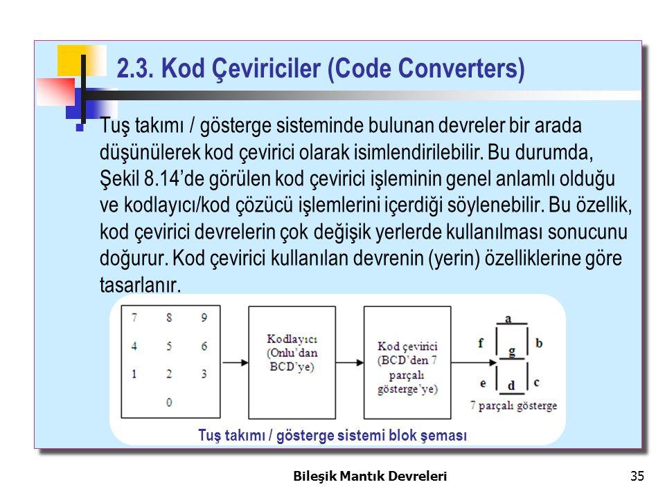 Bileşik Mantık Devreleri 35 2.3. Kod Çeviriciler (Code Converters) Tuş takımı / gösterge sisteminde bulunan devreler bir arada düşünülerek kod çeviric
