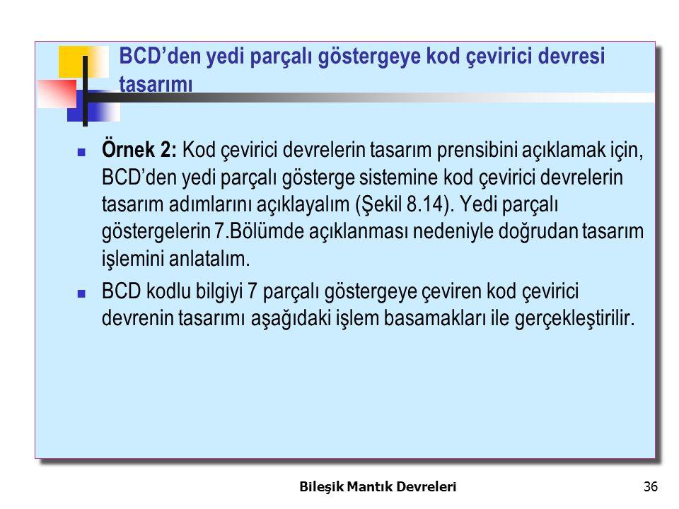 Bileşik Mantık Devreleri 36 BCD'den yedi parçalı göstergeye kod çevirici devresi tasarımı Örnek 2: Kod çevirici devrelerin tasarım prensibini açıklama
