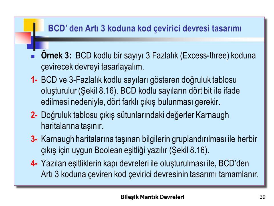 Bileşik Mantık Devreleri 39 Örnek 3: BCD kodlu bir sayıyı 3 Fazlalık (Excess-three) koduna çevirecek devreyi tasarlayalım. 1- BCD ve 3-Fazlalık kodlu