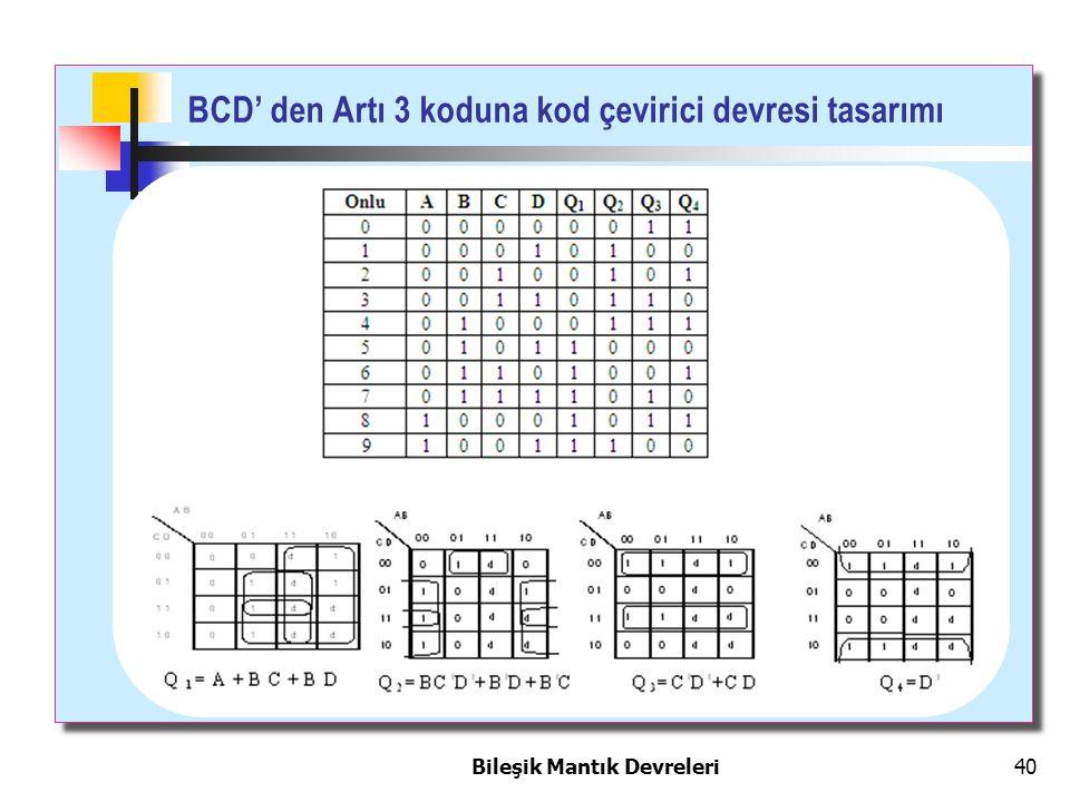 Bileşik Mantık Devreleri 40 BCD' den Artı 3 koduna kod çevirici devresi tasarımı