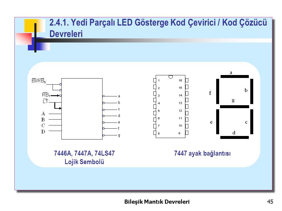 Bileşik Mantık Devreleri 45 2.4.1. Yedi Parçalı LED Gösterge Kod Çevirici / Kod Çözücü Devreleri 7446A, 7447A, 74LS47 Lojik Sembolü 7447 ayak bağlantı