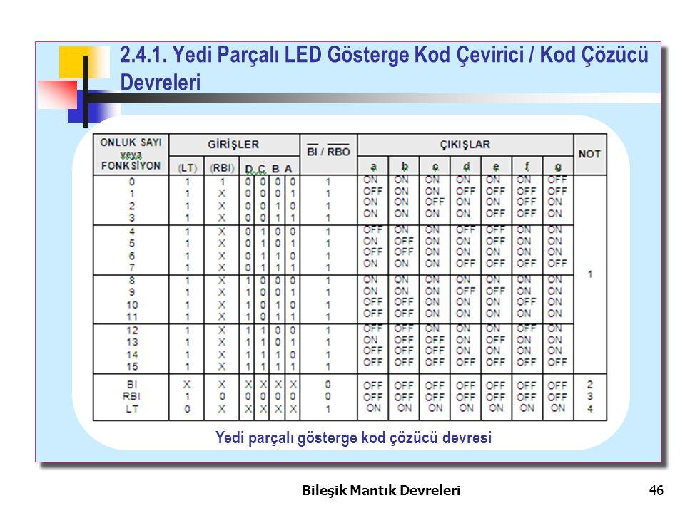 Bileşik Mantık Devreleri 46 2.4.1. Yedi Parçalı LED Gösterge Kod Çevirici / Kod Çözücü Devreleri Yedi parçalı gösterge kod çözücü devresi