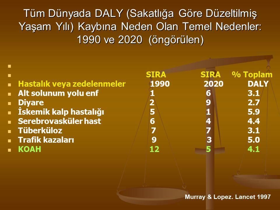 Tüm Dünyada DALY (Sakatlığa Göre Düzeltilmiş Yaşam Yılı) Kaybına Neden Olan Temel Nedenler: 1990 ve 2020 (öngörülen) SIRA SIRA% Toplam Hastalık veya zedelenmeler 19902020 DALY Alt solunum yolu enf 1 6 3.1 Diyare 2 9 2.7 İskemik kalp hastalığı 5 1 5.9 Serebrovasküler hast 6 4 4.4 Tüberküloz 7 7 3.1 Trafik kazaları 9 3 5.0 KOAH 12 5 4.1 Murray & Lopez.