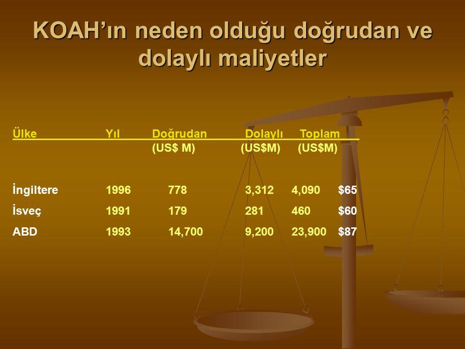KOAH'ın neden olduğu doğrudan ve dolaylı maliyetler ÜlkeYılDoğrudanDolaylı Toplam (US$ M) (US$M) (US$M) İngiltere1996 7783,3124,090$65 İsveç1991 179281460$60 ABD1993 14,7009,20023,900$87
