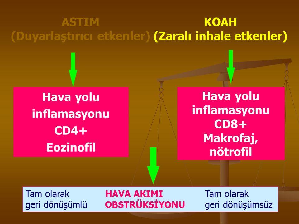 ASTIM (Duyarlaştırıcı etkenler) KOAH (Zaralı inhale etkenler) Hava yolu inflamasyonu CD4+ Eozinofil Hava yolu inflamasyonu CD8+ Makrofaj, nötrofil Tam olarak HAVA AKIMI Tam olarak geri dönüşümlü OBSTRÜKSİYONUgeri dönüşümsüz