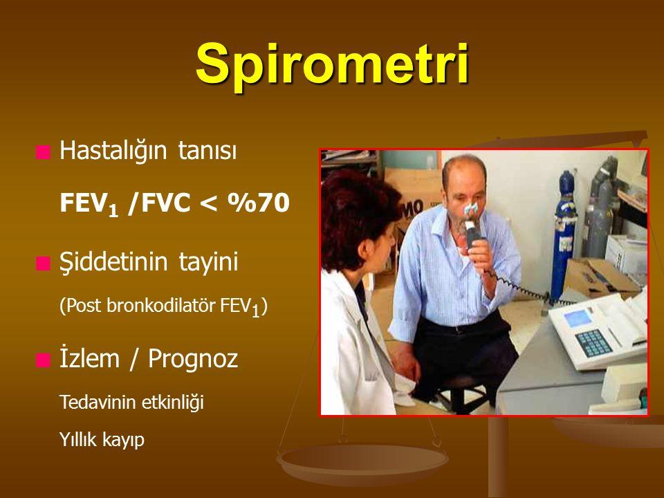 Spirometri Hastalığın tanısı FEV 1 /FVC < %70 Şiddetinin tayini (Post bronkodilatör FEV 1 ) İzlem / Prognoz Tedavinin etkinliği Yıllık kayıp