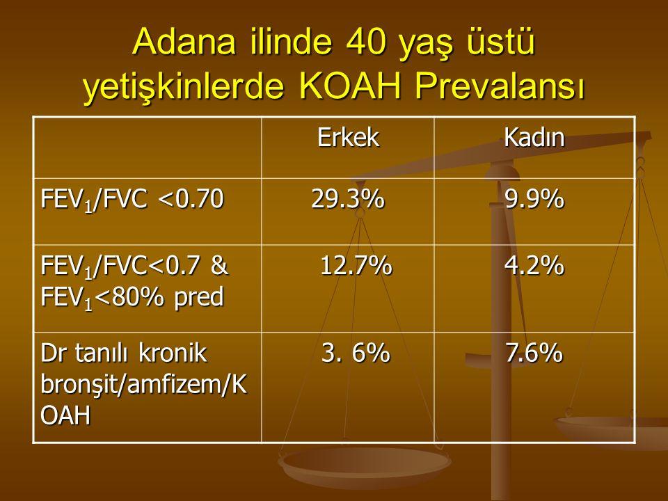Adana ilinde 40 yaş üstü yetişkinlerde KOAH Prevalansı ErkekKadın FEV 1 /FVC <0.70 29.3% 9.9% FEV 1 /FVC<0.7 & FEV 1 <80% pred 12.7% 12.7% 4.2%4.2%4.2%4.2% Dr tanılı kronik bronşit/amfizem/K OAH 3.