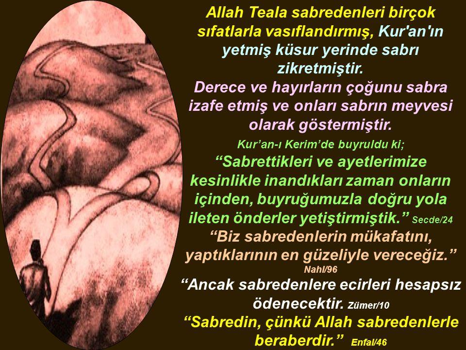 Allah Teala sabredenleri birçok sıfatlarla vasıflandırmış, Kur'an'ın yetmiş küsur yerinde sabrı zikretmiştir. Derece ve hayırların çoğunu sabra izafe
