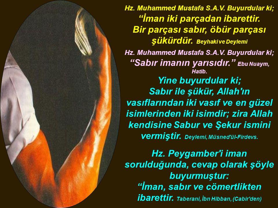 """Hz. Muhammed Mustafa S.A.V. Buyurdular ki; """"İman iki parçadan ibarettir. Bir parçası sabır, öbür parçası şükürdür. Beyhaki ve Deylemi Hz. Muhammed Mus"""