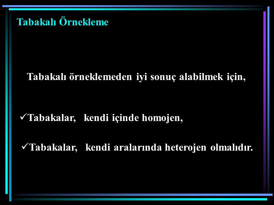 Tabakalı örneklemeden iyi sonuç alabilmek için, Tabakalar, kendi içinde homojen, Tabakalar, kendi aralarında heterojen olmalıdır. Tabakalar, kendi ara