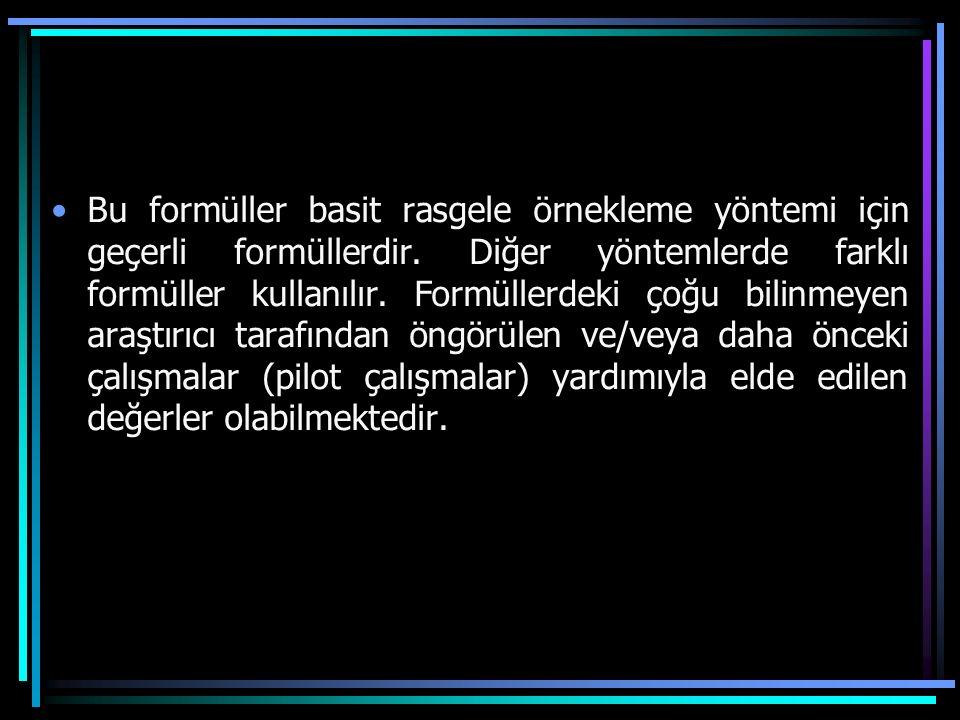 Bu formüller basit rasgele örnekleme yöntemi için geçerli formüllerdir. Diğer yöntemlerde farklı formüller kullanılır. Formüllerdeki çoğu bilinmeyen a