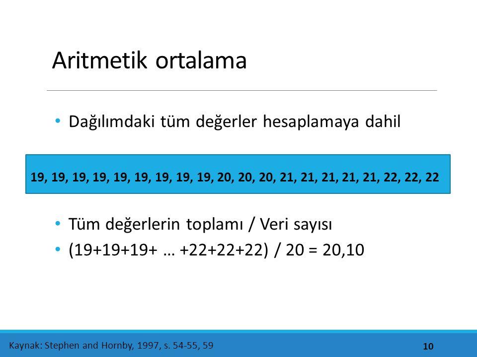 Aritmetik ortalama Dağılımdaki tüm değerler hesaplamaya dahil Tüm değerlerin toplamı / Veri sayısı (19+19+19+ … +22+22+22) / 20 = 20,10 10 Kaynak: Stephen and Hornby, 1997, s.