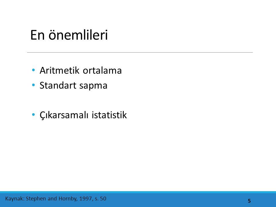 En önemlileri Aritmetik ortalama Standart sapma Çıkarsamalı istatistik 5 Kaynak: Stephen and Hornby, 1997, s.