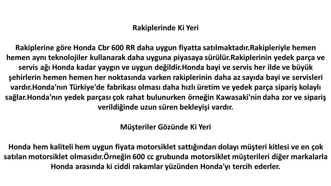 Rakiplerinde Ki Yeri Rakiplerine göre Honda Cbr 600 RR daha uygun fiyatta satılmaktadır.Rakipleriyle hemen hemen aynı teknolojiler kullanarak daha uyguna piyasaya sürülür.Rakiplerinin yedek parça ve servis ağı Honda kadar yaygın ve uygun değildir.Honda bayi ve servis her ilde ve büyük şehirlerin hemen hemen her noktasında varken rakiplerinin daha az sayıda bayi ve servisleri vardır.Honda nın Türkiye de fabrikası olması daha hızlı üretim ve yedek parça sipariş kolaylı sağlar.Honda nın yedek parçası çok rahat bulunurken örneğin Kawasaki nin daha zor ve sipariş verildiğinde uzun süren bekleyişi vardır.