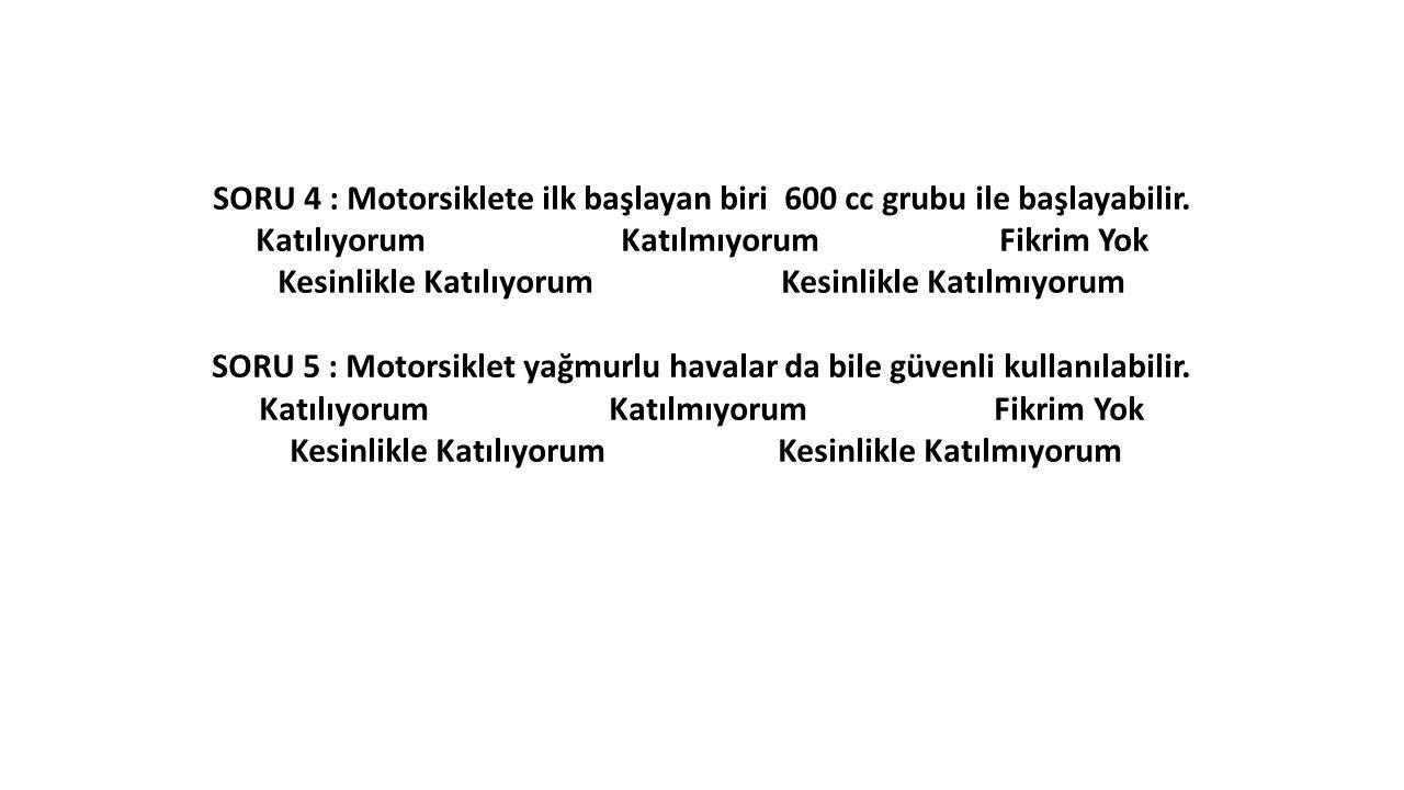 SORU 4 : Motorsiklete ilk başlayan biri 600 cc grubu ile başlayabilir.