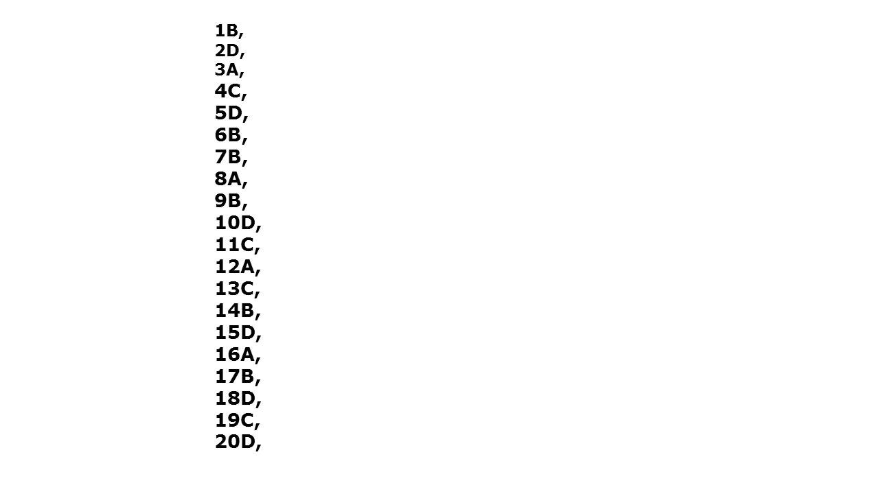 1B, 2D, 3A, 4C, 5D, 6B, 7B, 8A, 9B, 10D, 11C, 12A, 13C, 14B, 15D, 16A, 17B, 18D, 19C, 20D,