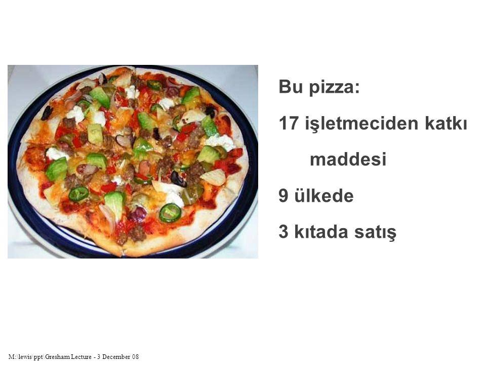M:\lewis\ppt\Gresham Lecture - 3 December 08 Bu pizza: 17 işletmeciden katkı maddesi 9 ülkede 3 kıtada satış