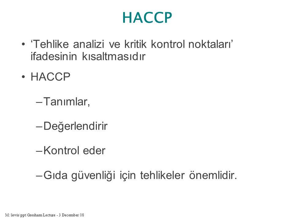 M:\lewis\ppt\Gresham Lecture - 3 December 08 'Tehlike analizi ve kritik kontrol noktaları' ifadesinin kısaltmasıdır HACCP –Tanımlar, –Değerlendirir –K