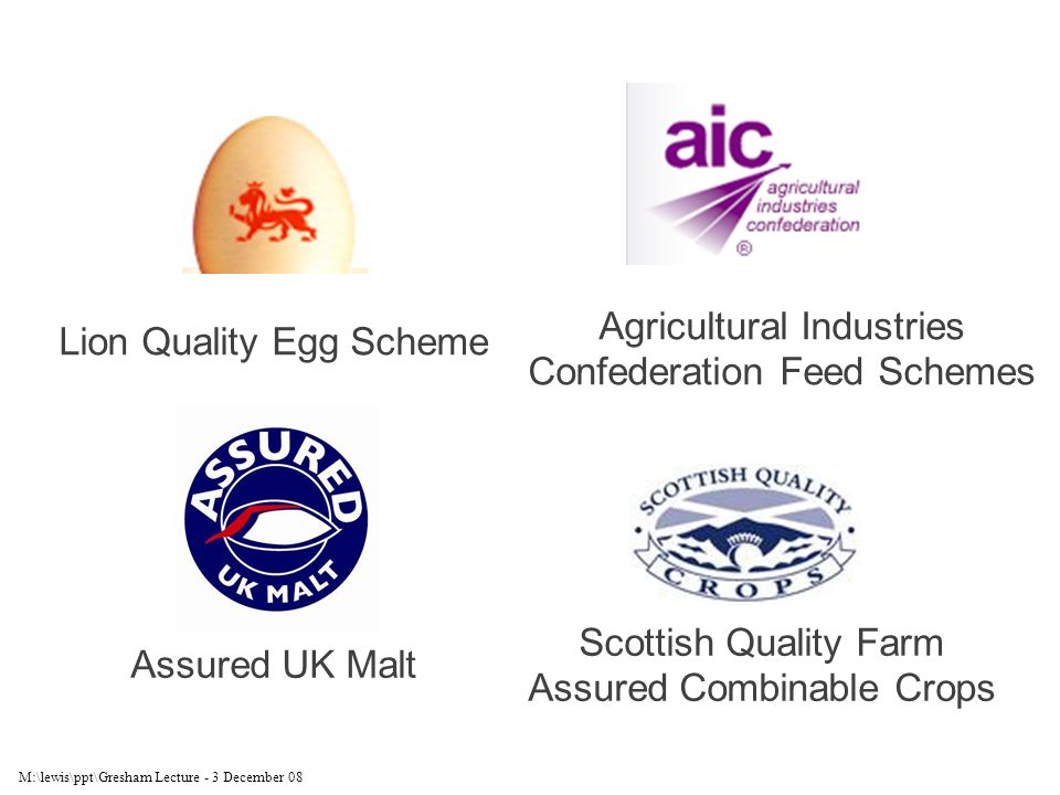 M:\lewis\ppt\Gresham Lecture - 3 December 08 Lion Quality Egg Scheme Agricultural Industries Confederation Feed Schemes Assured UK Malt Scottish Quality Farm Assured Combinable Crops