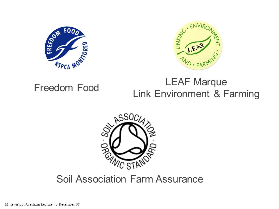 M:\lewis\ppt\Gresham Lecture - 3 December 08 Freedom Food LEAF Marque Link Environment & Farming Soil Association Farm Assurance