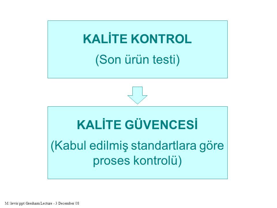 M:\lewis\ppt\Gresham Lecture - 3 December 08 KALİTE KONTROL (Son ürün testi) KALİTE GÜVENCESİ (Kabul edilmiş standartlara göre proses kontrolü)