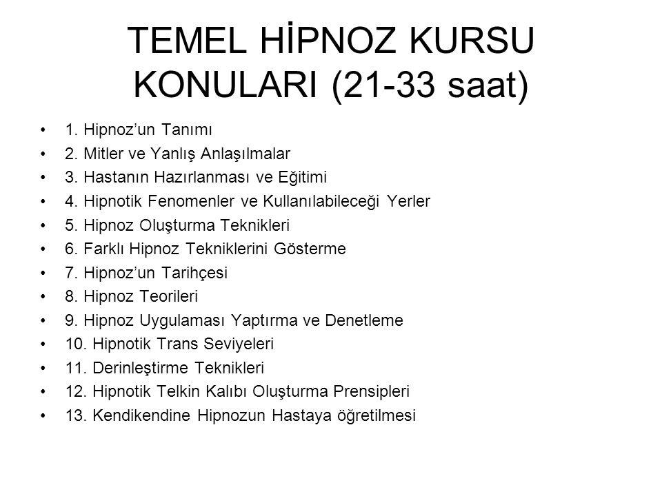 TEMEL HİPNOZ KURSU KONULARI (21-33 saat) 1. Hipnoz'un Tanımı 2.