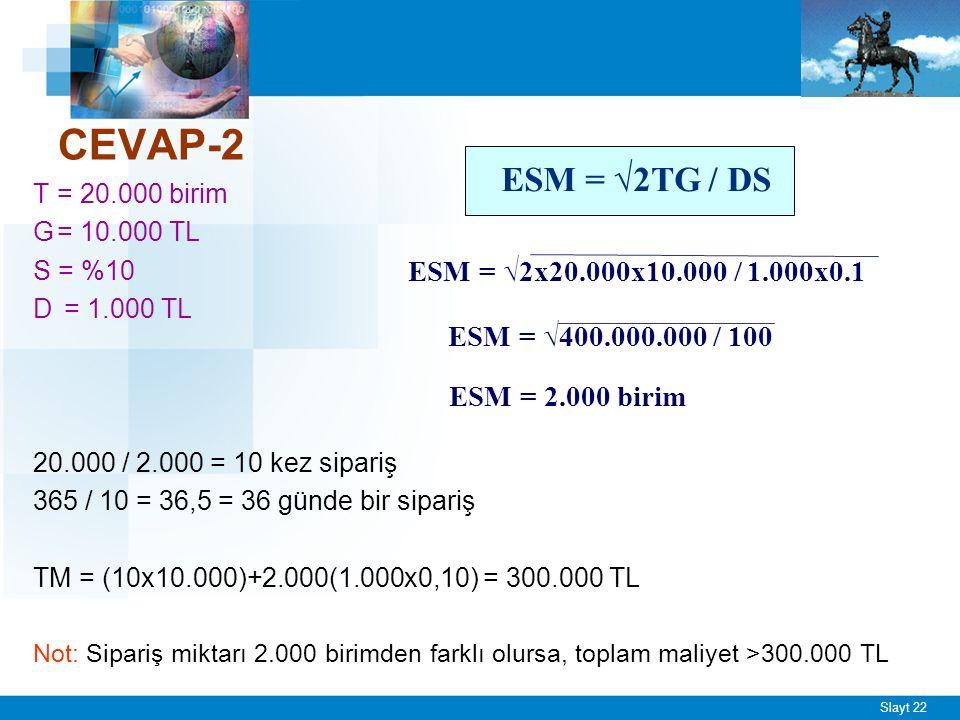 Slayt 22 CEVAP-2 T= 20.000 birim G= 10.000 TL S = %10 D = 1.000 TL 20.000 / 2.000 = 10 kez sipariş 365 / 10 = 36,5 = 36 günde bir sipariş TM = (10x10.000)+2.000(1.000x0,10) = 300.000 TL Not: Sipariş miktarı 2.000 birimden farklı olursa, toplam maliyet >300.000 TL ESM = √2TG / DS ESM = √2x20.000x10.000 / 1.000x0.1 ESM = √400.000.000 / 100 ESM = 2.000 birim