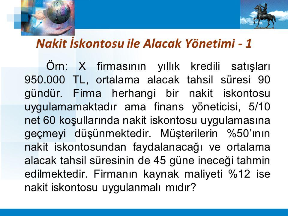 Nakit İskontosu ile Alacak Yönetimi - 1 Örn: X firmasının yıllık kredili satışları 950.000 TL, ortalama alacak tahsil süresi 90 gündür.