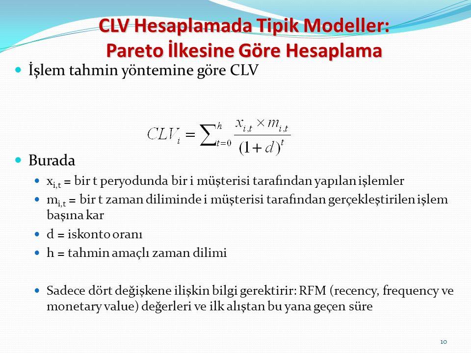 10 İşlem tahmin yöntemine göre CLV Burada x i,t = bir t peryodunda bir i müşterisi tarafından yapılan işlemler m i,t = bir t zaman diliminde i müşterisi tarafından gerçekleştirilen işlem başına kar d = iskonto oranı h = tahmin amaçlı zaman dilimi Sadece dört değişkene ilişkin bilgi gerektirir: RFM (recency, frequency ve monetary value) değerleri ve ilk alıştan bu yana geçen süre CLV Hesaplamada Tipik Modeller: Pareto İlkesine Göre Hesaplama
