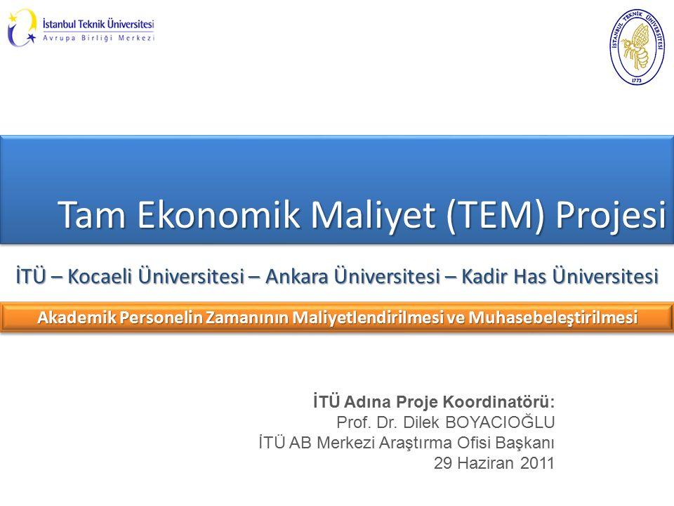 Tam Ekonomik Maliyet (TEM) Projesi İTÜ – Kocaeli Üniversitesi – Ankara Üniversitesi – Kadir Has Üniversitesi İTÜ Adına Proje Koordinatörü: Prof.