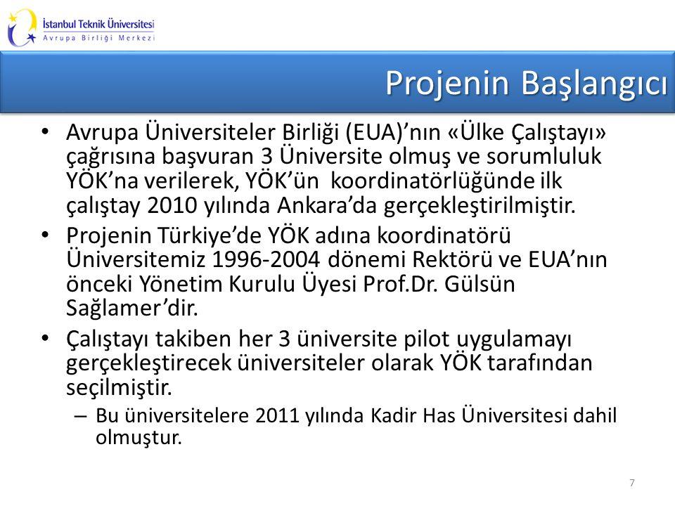 Projenin Başlangıcı Avrupa Üniversiteler Birliği (EUA)'nın «Ülke Çalıştayı» çağrısına başvuran 3 Üniversite olmuş ve sorumluluk YÖK'na verilerek, YÖK'ün koordinatörlüğünde ilk çalıştay 2010 yılında Ankara'da gerçekleştirilmiştir.