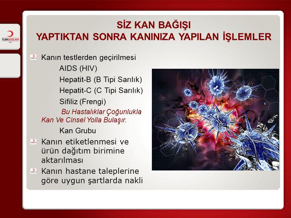 SİZ KAN BAĞIŞI YAPTIKTAN SONRA KANINIZA YAPILAN İŞLEMLER Kanın testlerden geçirilmesi AIDS (HIV) Hepatit-B (B Tipi Sarılık) Hepatit-C (C Tipi Sarılık)