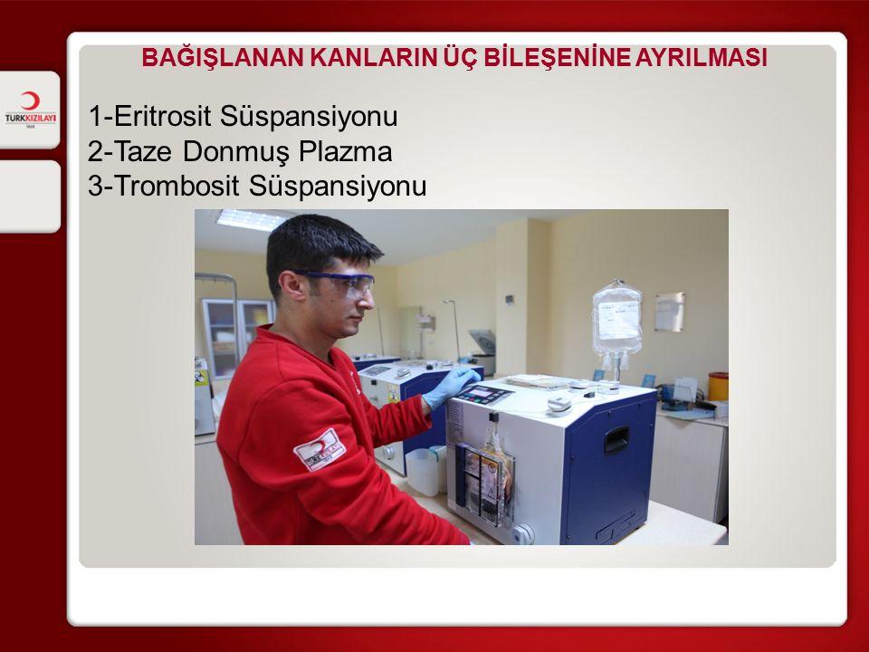 BAĞIŞLANAN KANLARIN ÜÇ BİLEŞENİNE AYRILMASI 1-Eritrosit Süspansiyonu 2-Taze Donmuş Plazma 3-Trombosit Süspansiyonu