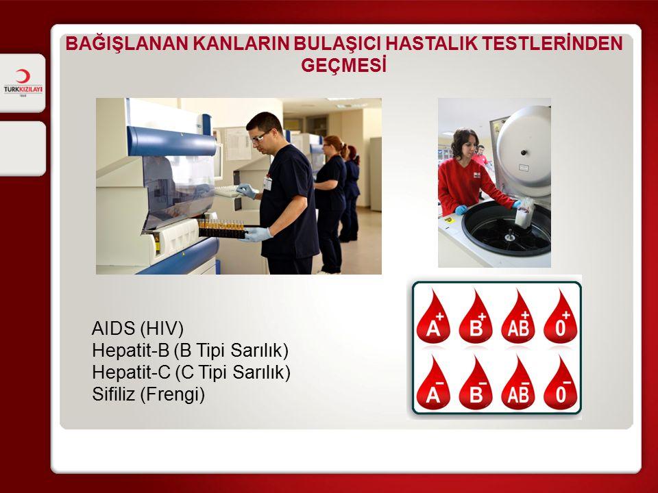 BAĞIŞLANAN KANLARIN BULAŞICI HASTALIK TESTLERİNDEN GEÇMESİ AIDS (HIV) Hepatit-B (B Tipi Sarılık) Hepatit-C (C Tipi Sarılık) Sifiliz (Frengi)