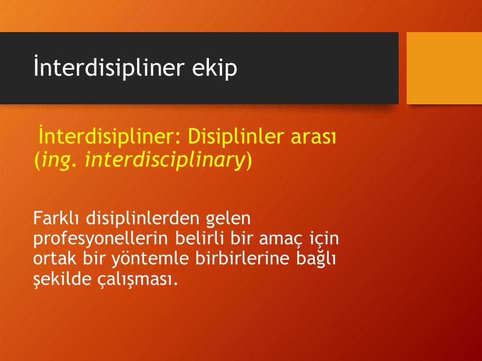 İnterdisipliner ekip İnterdisipliner: Disiplinler arası (ing. interdisciplinary) Farklı disiplinlerden gelen profesyonellerin belirli bir amaç için or