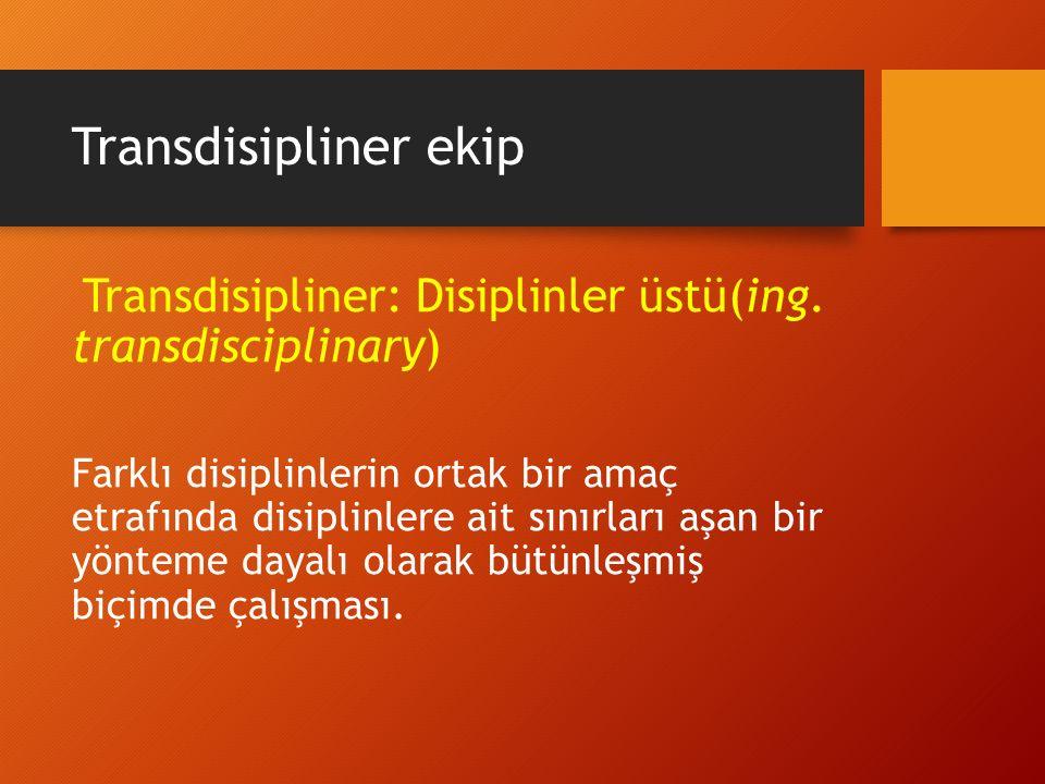 Transdisipliner ekip Transdisipliner: Disiplinler üstü(ing. transdisciplinary) Farklı disiplinlerin ortak bir amaç etrafında disiplinlere ait sınırlar