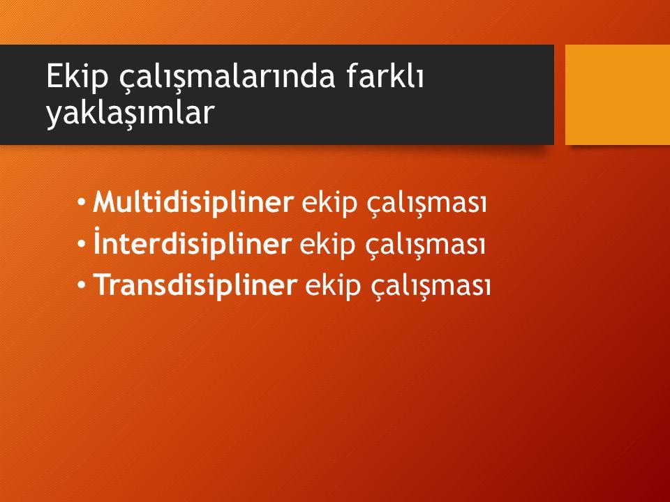 Ekip çalışmalarında farklı yaklaşımlar Multidisipliner ekip çalışması İnterdisipliner ekip çalışması Transdisipliner ekip çalışması