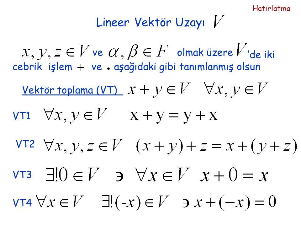 Lineer Vektör Uzayı 'de iki cebrik işlem ve aşağıdaki gibi tanımlanmış olsun veolmak üzere Vektör toplama (VT)VT1 VT2 VT3VT4 Hatırlatma